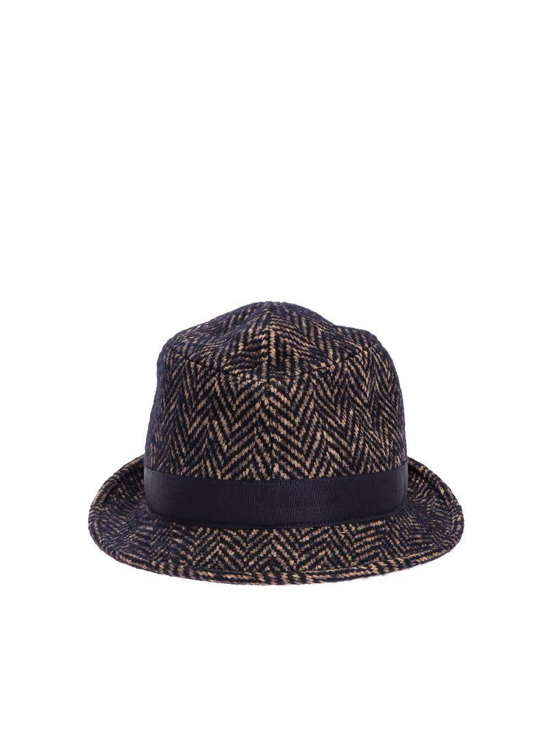 Tagliatore Chris Cotton And Wool Blend Hat In Light Brown -blue -black