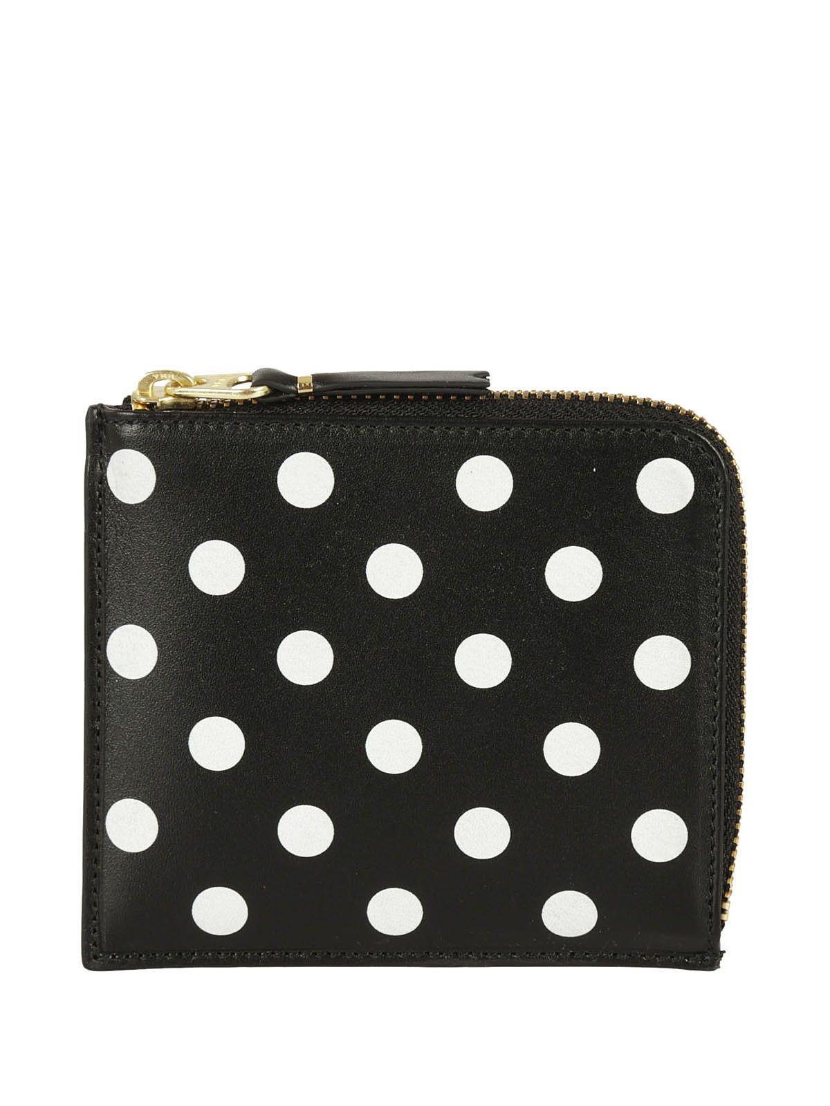 Comme Des GarÇons Polka Dot Zip Around Wallet In Black