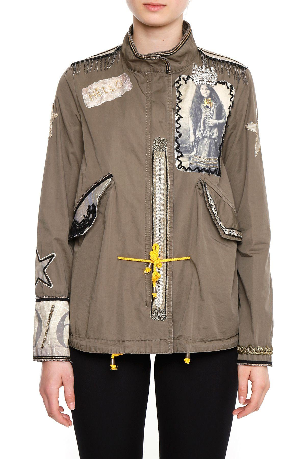 History Repeats Parka With Rhinestones And Patches In Verde Militare
