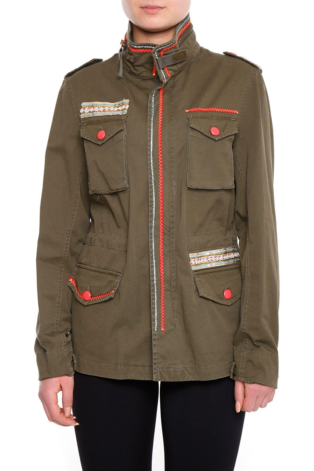 History Repeats Stretch Cotton Jacket In Verde Militare