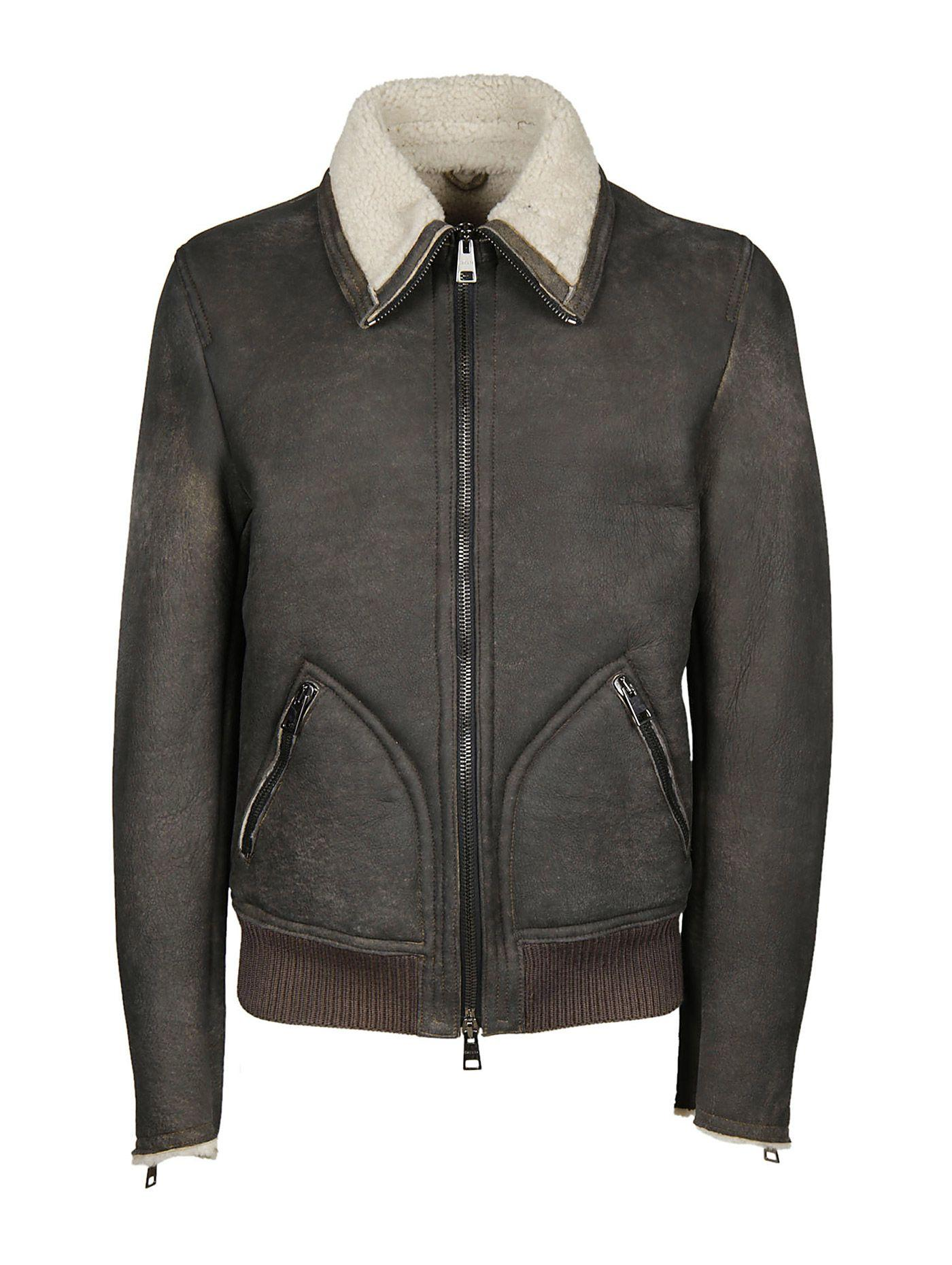 Dacute Hutch Leather Jacket In Gray
