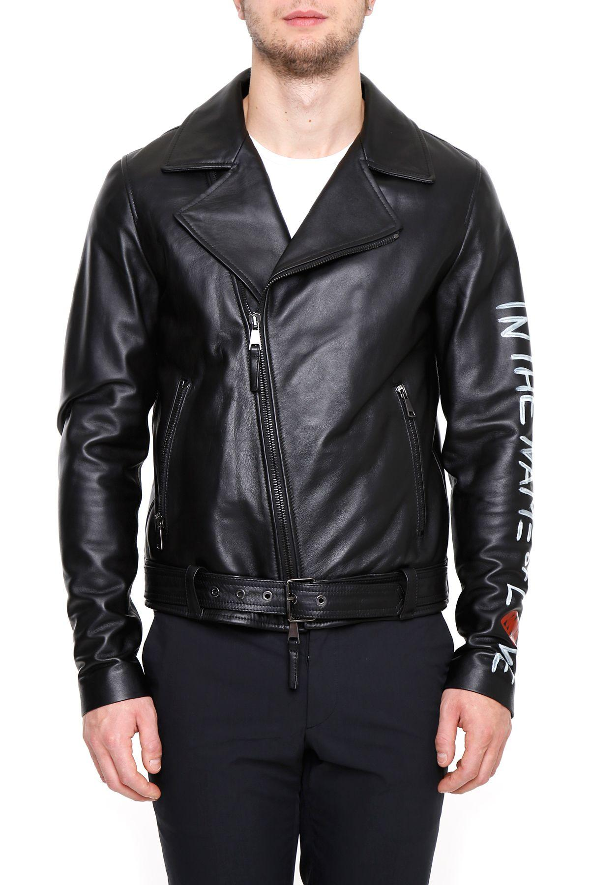 Les BohĒmiens Emergency Love Leather Biker Jacket In Blacknero