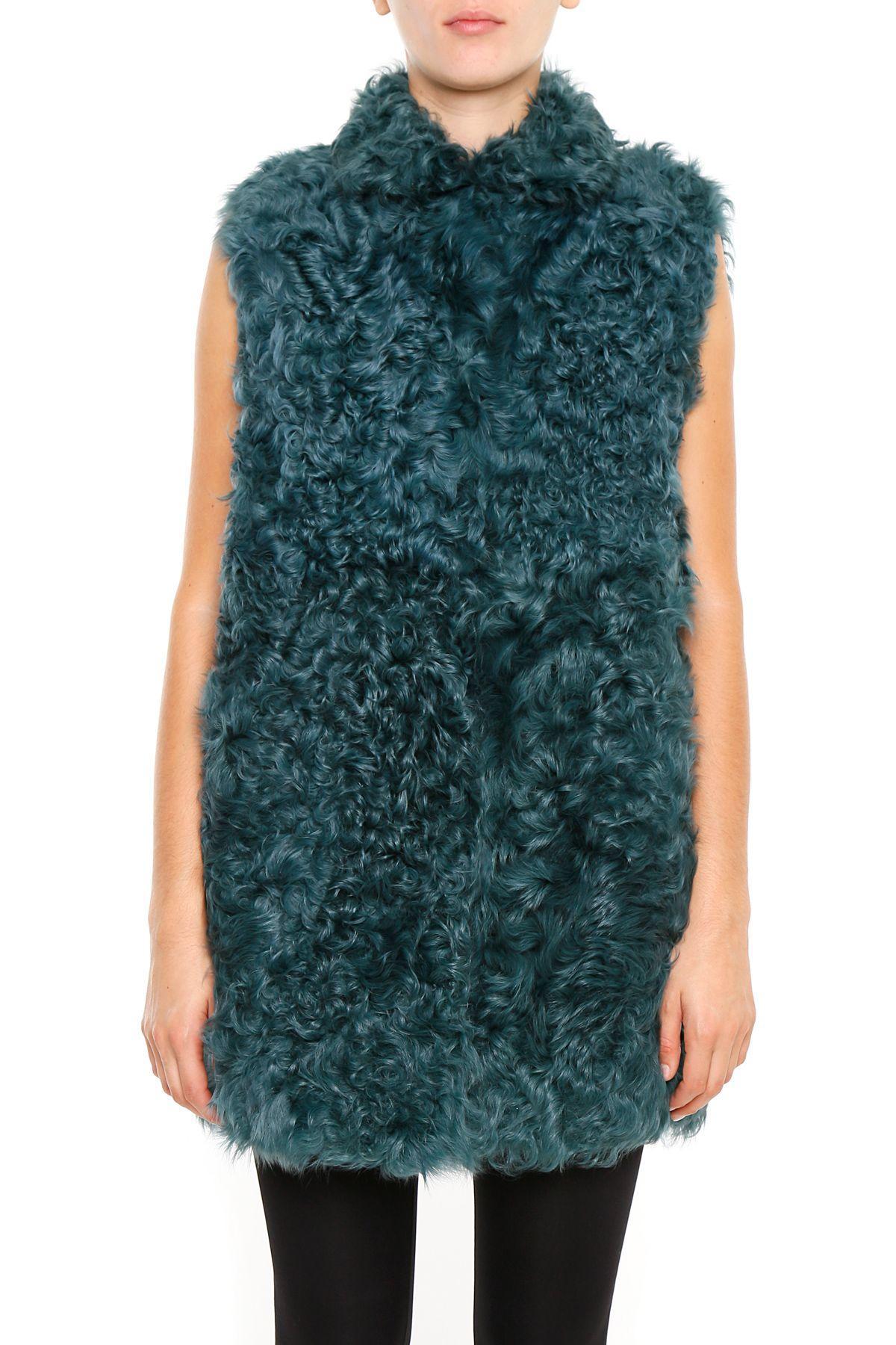 Numerootto Kalgan Fur Vest In Tealverde
