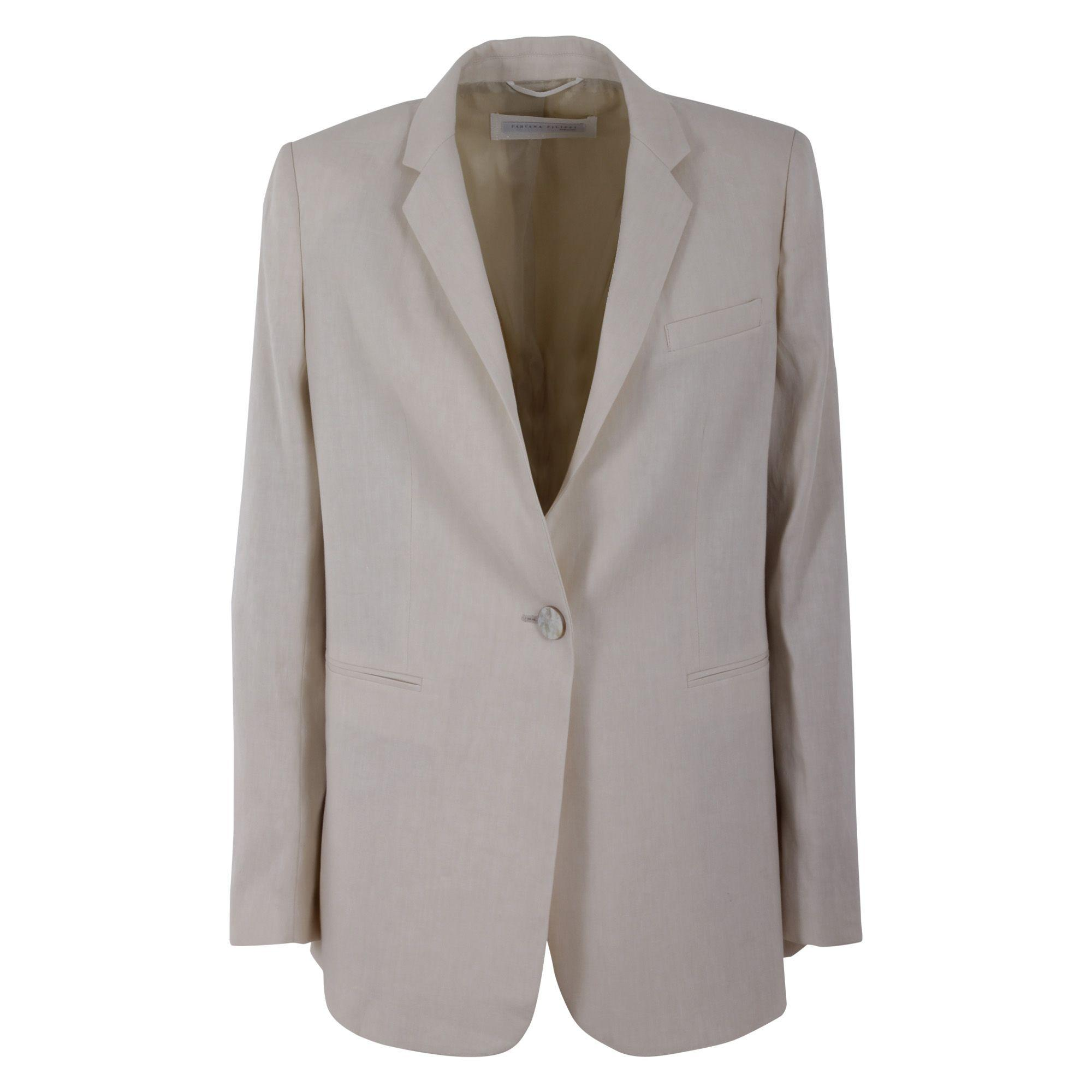 Fabiana Filippi Linen Blend Jacket In Vanilla