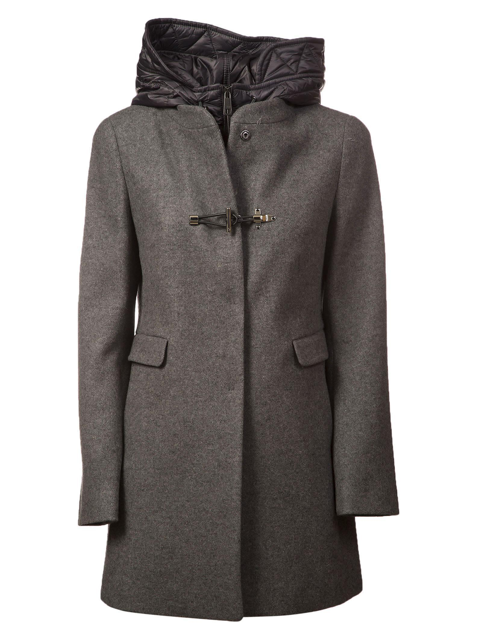 Fay Hooded Toggle Coat In Grigio Scuro Melange