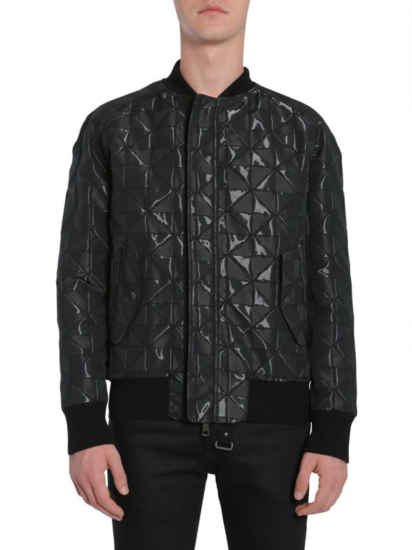 Tom Rebl Bomber Jacket With Intarsia In Black