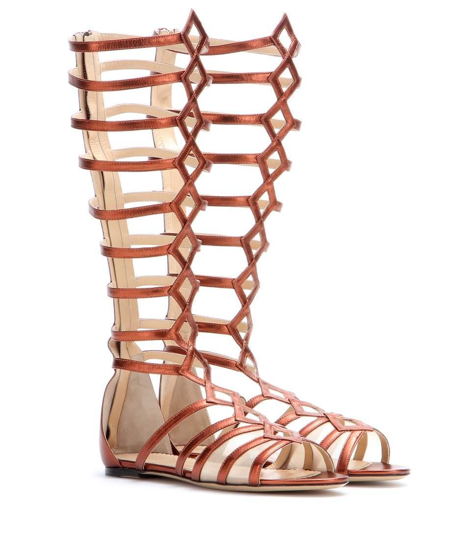 Charlotte Olympia Maya Metallic Leather Gladiator Sandals In Terracotta