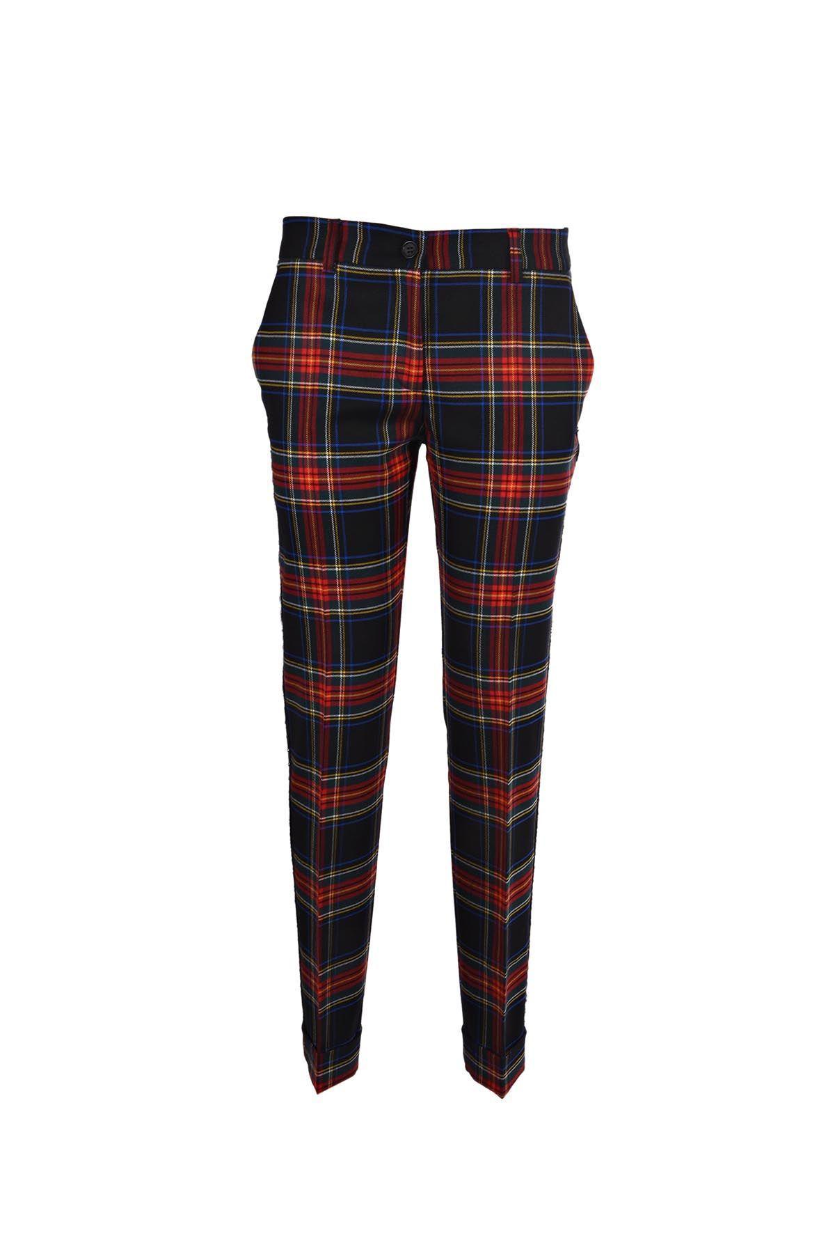 Parosh Check Studded Pants In Fantasia Nero