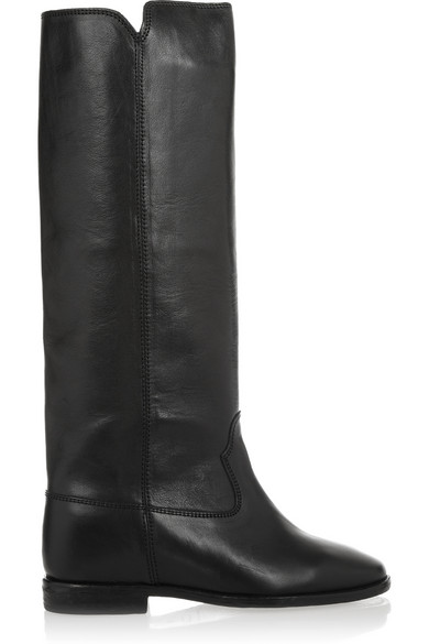 Isabel Marant ÉToile Chess Leather Concealed Wedge Knee Boots In Black