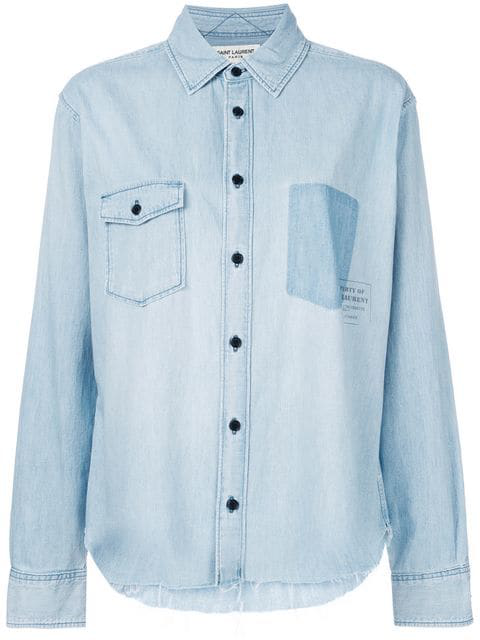 48e8f9e78f Oversized Shirt Printed With Property In Faded Blue Denim