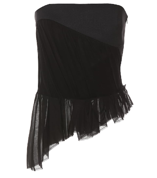 Saint Laurent Asymmetric Gathered Strapless Top In Black
