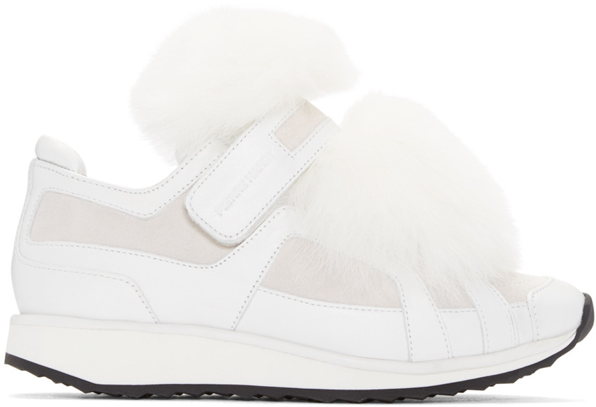 Pierre Hardy Platform Leather Sneakers With Fox Fur In White