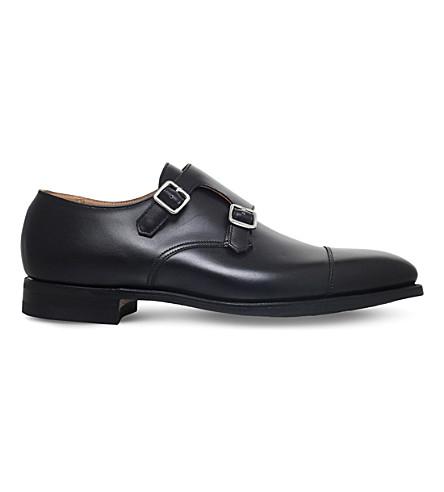 Crockett & Jones Lowndes Leather Double Monk Shoes In Black