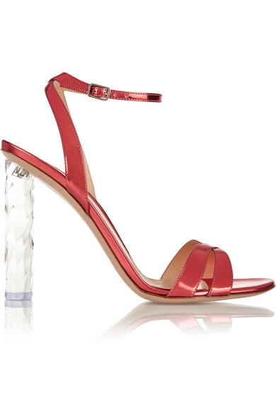 Gianvito Rossi Woman Mirrored-Leather Sandals Pink