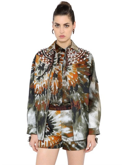 Valentino Printed Cotton Jacket With Fringed Embellishment In Multi