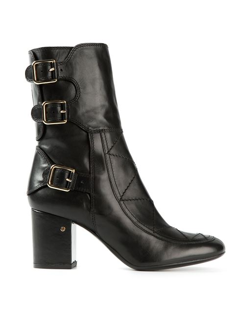 Laurence Dacade Merli Calfskin Leather Boots In Black Shiny Calf