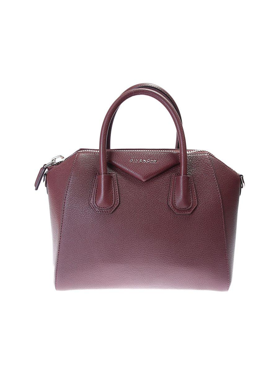 Givenchy Leather Antigona Small Bag In Bordeaux