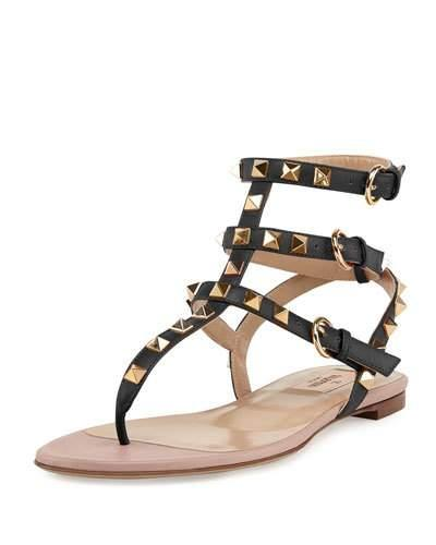 Valentino Rockstud Flat Thong Sandal In Eero