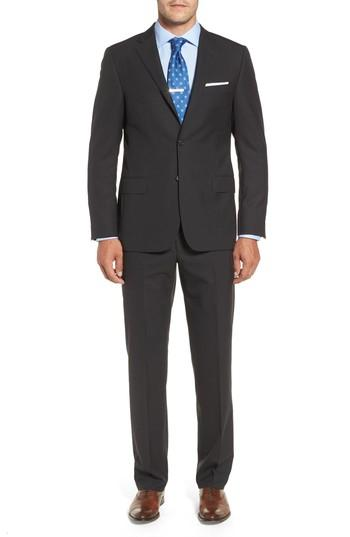 Hickey Freeman Classic B Fit Check Wool & Cashmere Suit In Charcoal