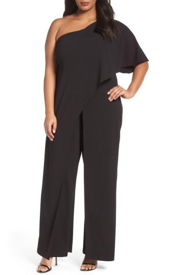 67c35644ac09 Adrianna Papell Plus Size Draped One-Shoulder Jumpsuit In Black ...