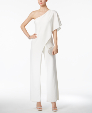 cfef1fde0de602 Adrianna Papell Plus Size Draped One-Shoulder Jumpsuit In Ivory ...