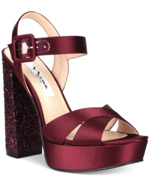 26d2e1d7470c Nina Savita Evening Platform Evening Sandals Women s Shoes In Dark Wine
