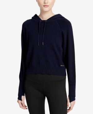 Calvin Klein Performance Cotton Cropped Hoodie In Ink Heather