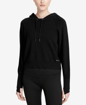 Calvin Klein Performance Cotton Cropped Hoodie In Black