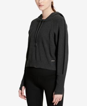 Calvin Klein Performance Cotton Cropped Hoodie In Vine Heather