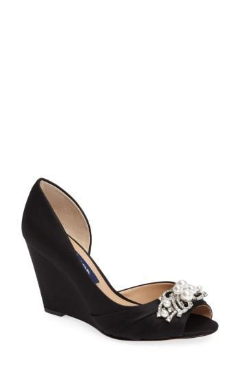 8c27cdeec658 Nina Rona Swarovski Wedge Sandal In Black Satin