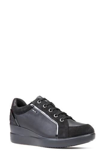 Geox Stardust Wedge Sneaker In Black Leather  60181e53433