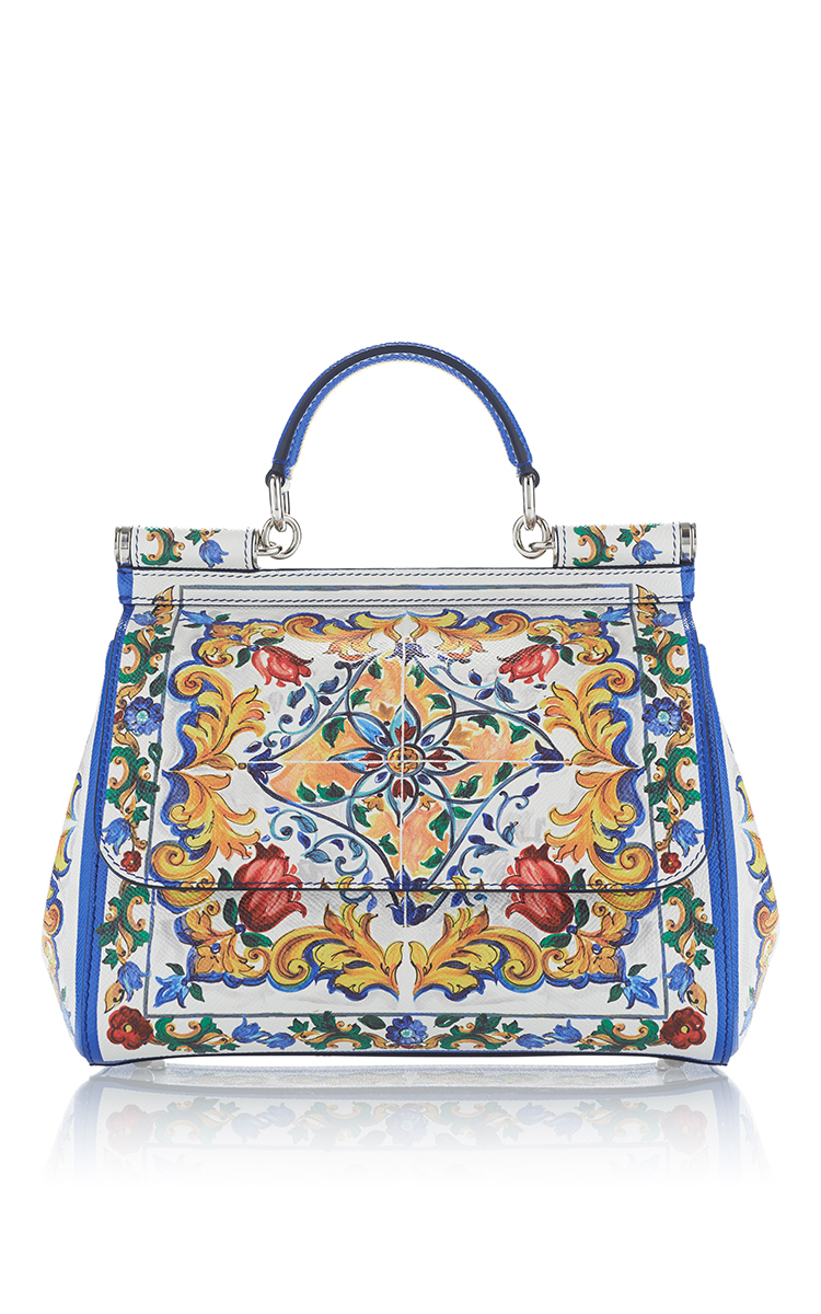 3717f0a1ea Dolce   Gabbana Miss Sicily Medium Leather St. Maioliche Tile Satchel Bag