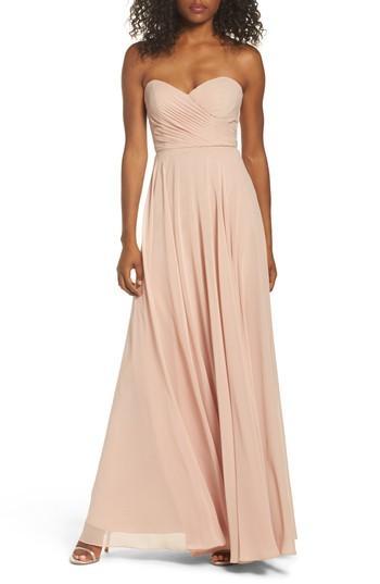 8a48137668521 Jenny Yoo Adeline Strapless Chiffon Gown In Desert Rose | ModeSens