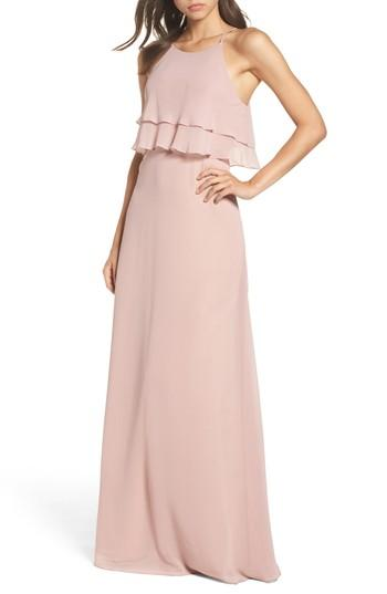 0017794045863 Jenny Yoo Charlie Ruffle Bodice Gown In Whipped Apricot | ModeSens
