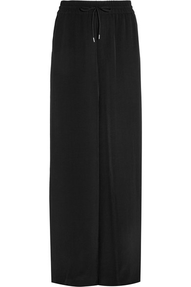 Mcq By Alexander Mcqueen Japan Crepe Wide-leg Pants In Black