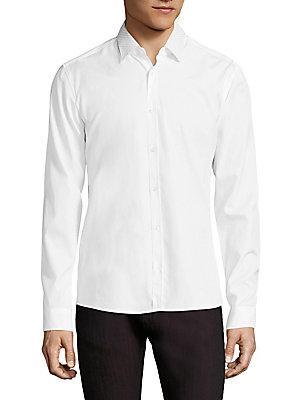Hugo Resta Dotted Collar Slim-fit Shirt In White