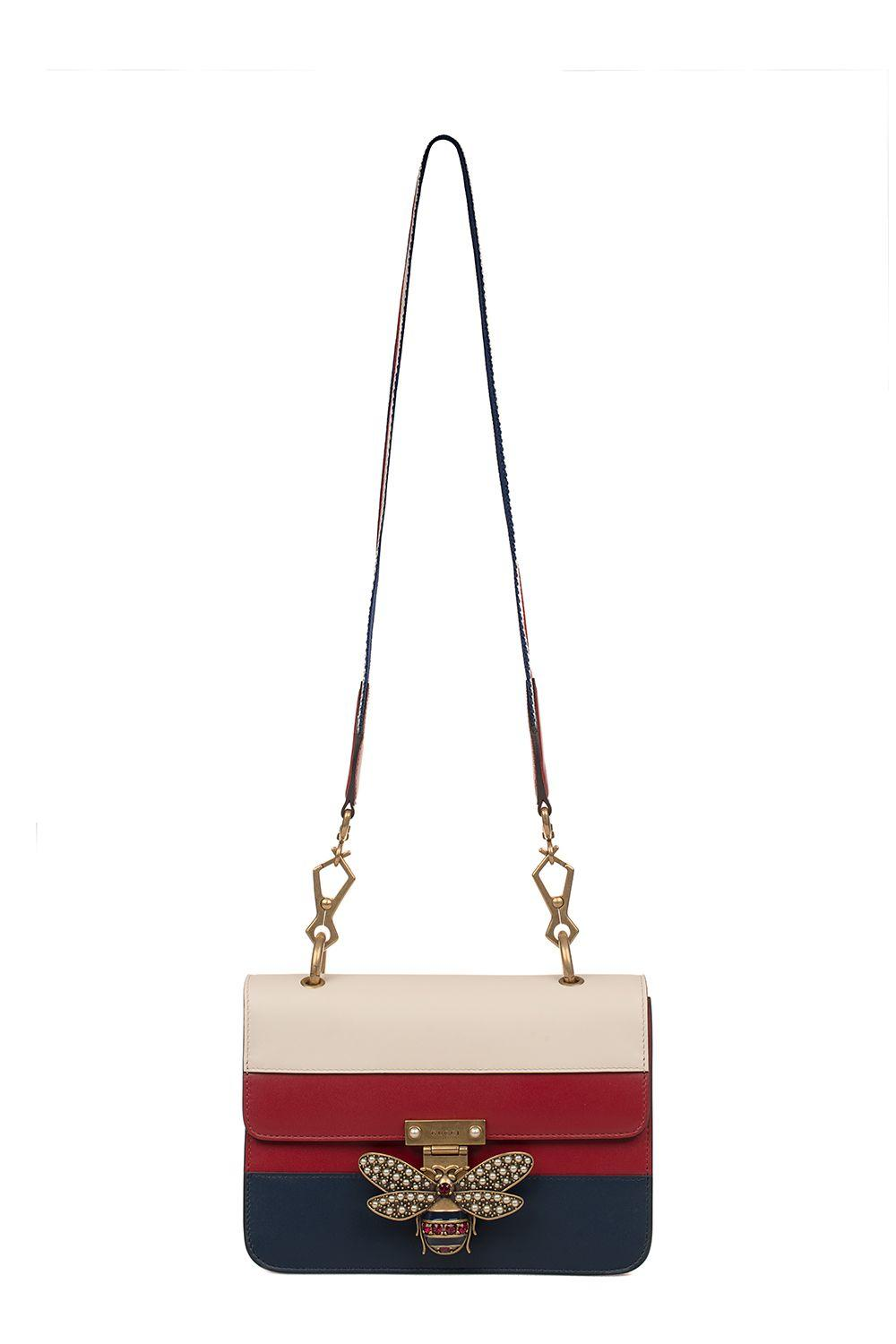 a7ed66a344a Gucci Ivory-Red-Blue Queen Margaret Leather Shoulder Bag In White - Red -
