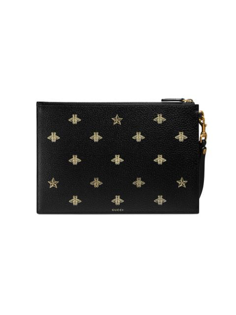 Gucci Bee-Print Grained-Leather Pouch In 8474 Blu