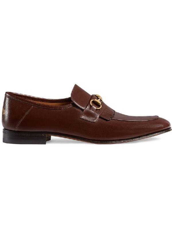 Gucci Leather Fringe Horsebit Loafer In Brown