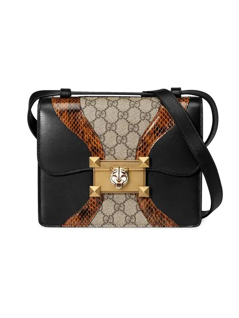 ac7055f40 Gucci Osiride Genuine Snakeskin & Gg Supreme Shoulder Bag - Black ...