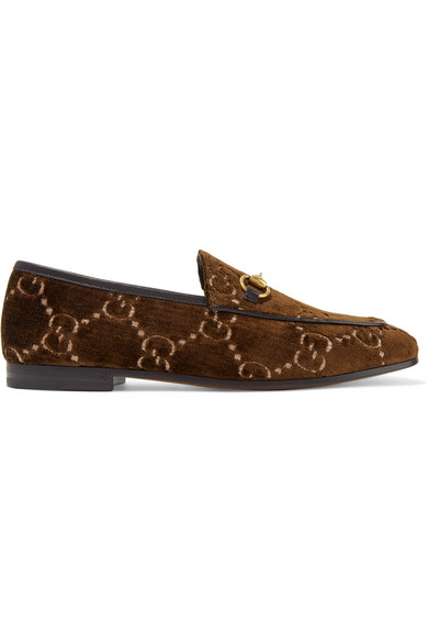 Gucci Jordaan Horsebit-Detailed Leather-Trimmed Logo-Jacquard Loafers In Brown
