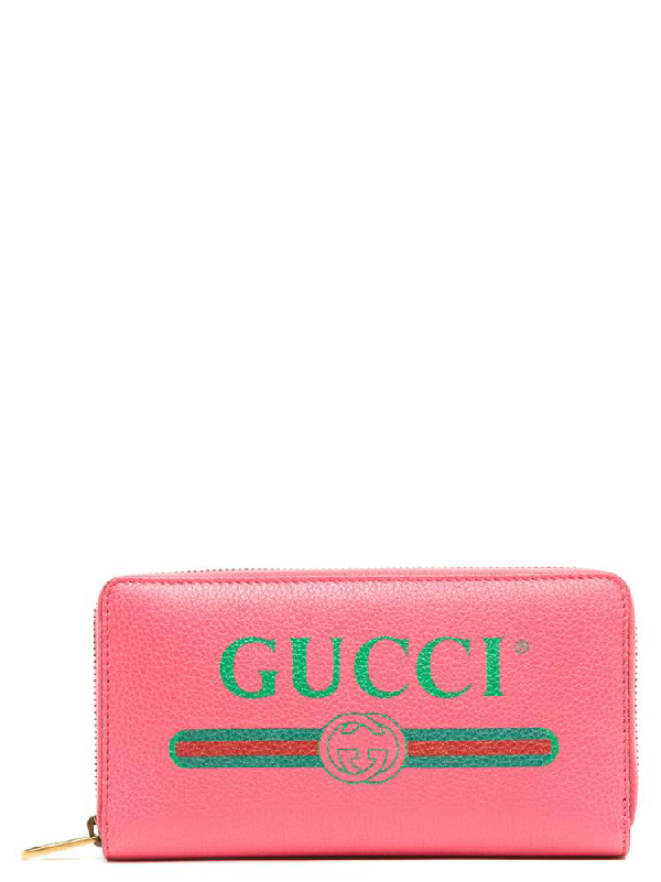 7cfba7a205c Gucci Leather Zip-Around Wallet In Pink