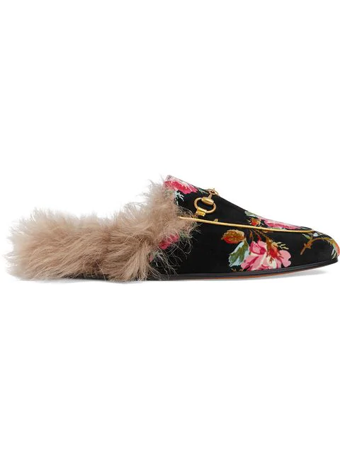 Gucci Princetown Horsebit-Detailed Shearling-Lined Floral-Print Velvet Slippers In 1105 Grigio