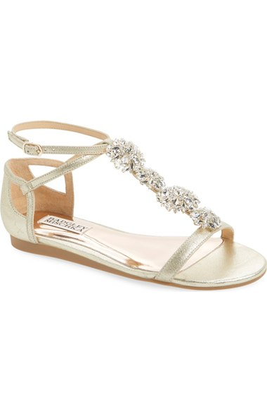Badgley Mischka 'lilli' Crystal Embellished T-strap Sandal (women) In Platino Metallic Suede