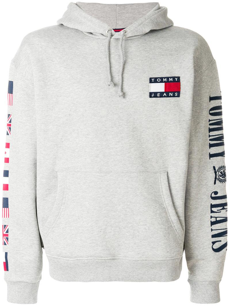 Tommy Jeans 90s Cotton-jersey Hoody In Grey Marl