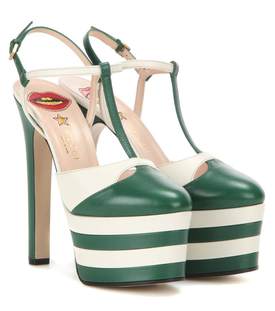 bfbc034af2 Gucci Angel Leather Striped Platform Sandals In Lr.Evergr | ModeSens