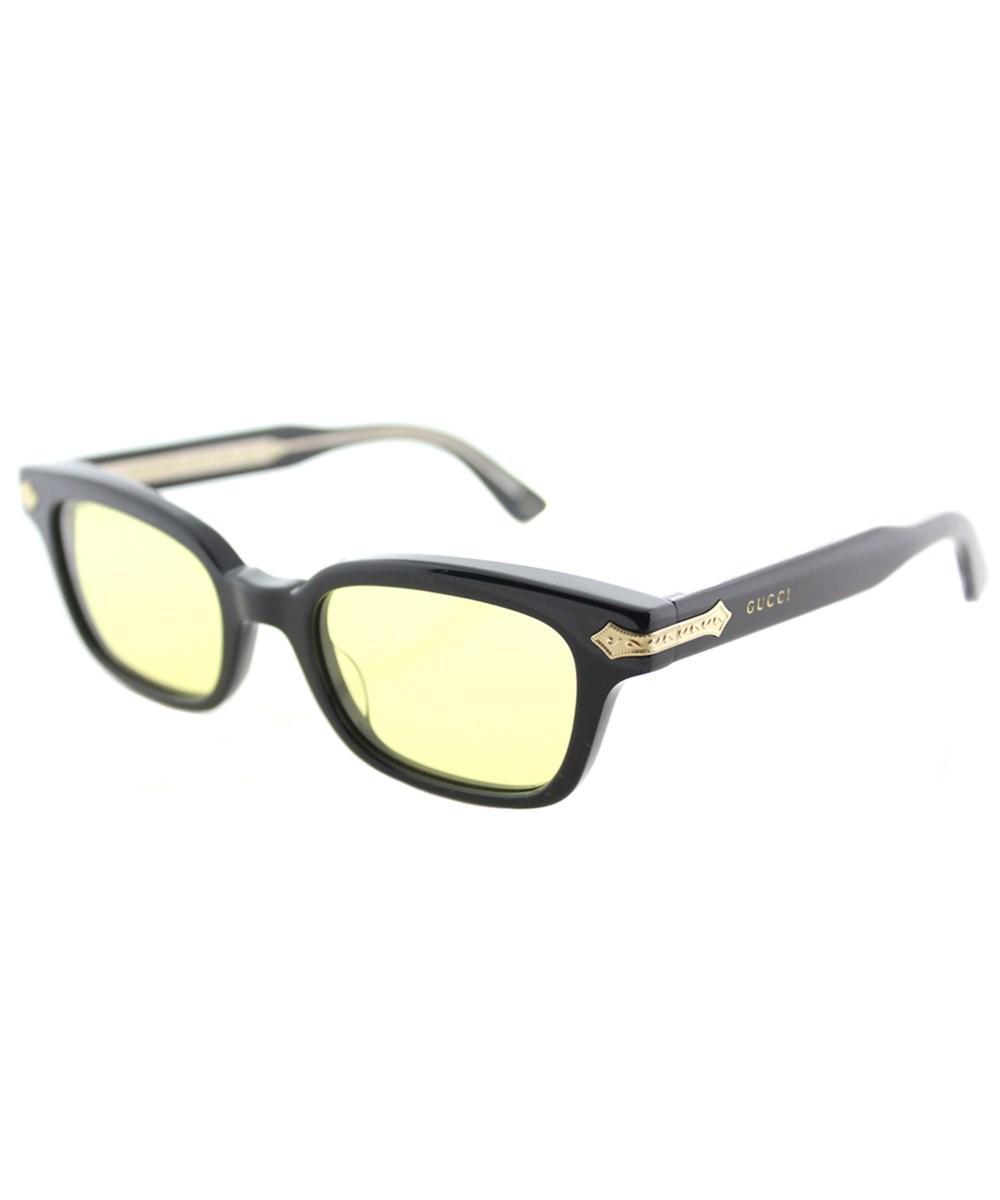458ff3f636f Gucci Gg0086S 001 Black Rectangle Sunglasses