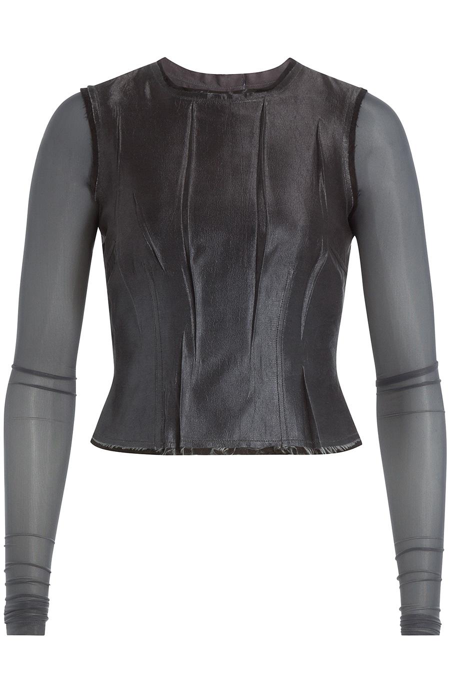 Maison Margiela Pleated Silk Top In Black