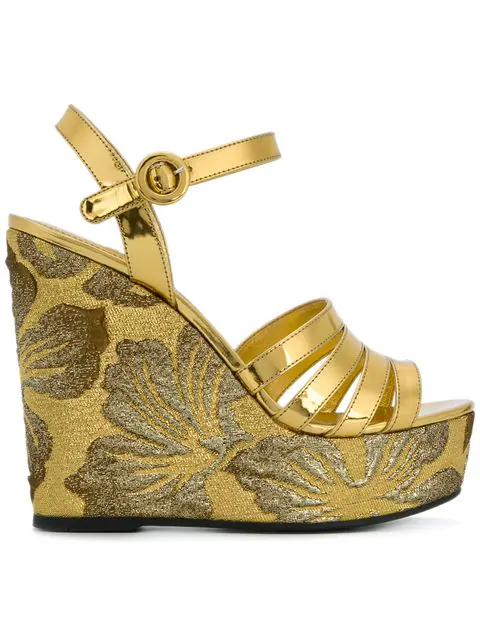 Prada Leather & Brocade Wedge Sandals In Metallic
