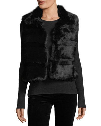 Love Token Faux-Fur Open-Front Vest In Black